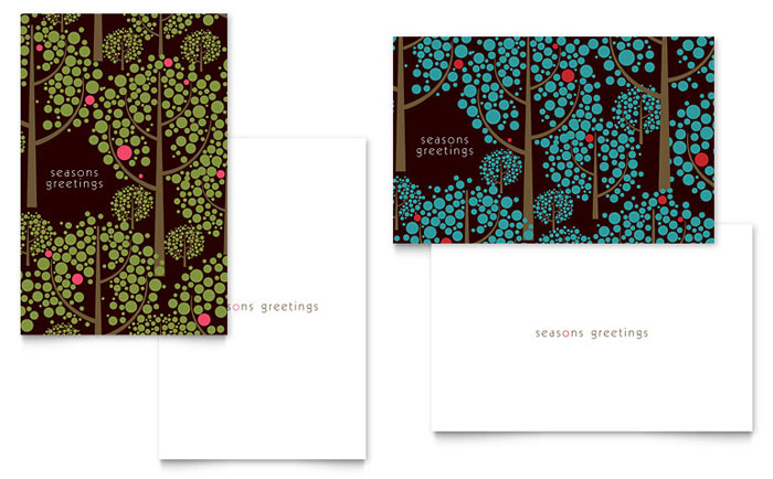 Stylish holiday trees greeting card template word publisher m4hsunfo