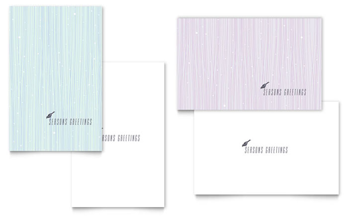 Snow bird greeting card template word publisher for Postcard size template word