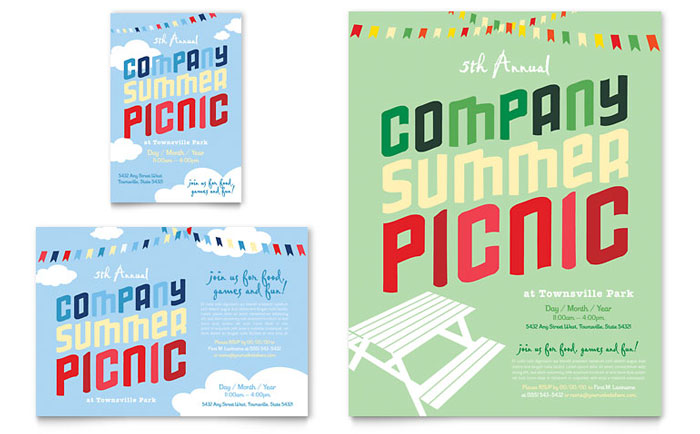 Company summer picnic flyer ad template word publisher for Publisher save the date templates