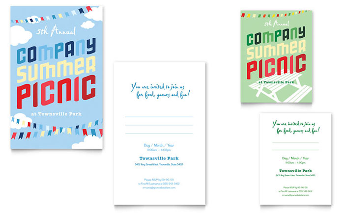 Company summer picnic note card template word publisher for Publisher save the date templates