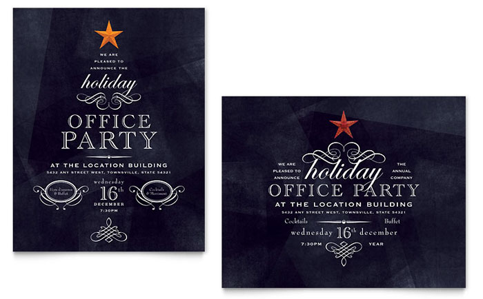 Office holiday party poster template word publisher for Free christmas invitation templates
