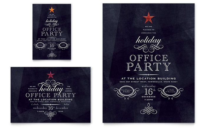Office holiday party flyer ad template word publisher for Publisher save the date templates