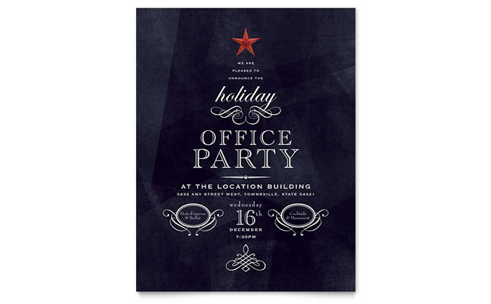 Office Holiday Party Flyer Template Word Publisher - Christmas flyer templates microsoft publisher