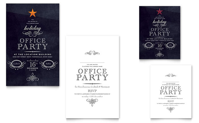 Office Holiday Party Note Card Template - Word & Publisher