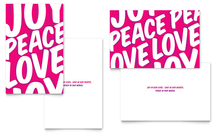 Peace Love Joy Greeting Card Template - Word & Publisher