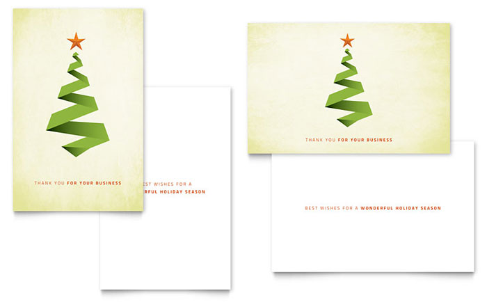Christmas Card Templates Word Enchanting Ribbon Tree Greeting Card Template  Word & Publisher