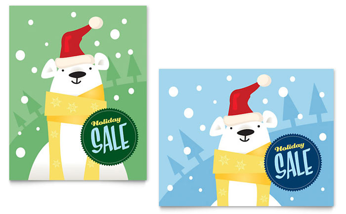 Santa Polar Bear Sale Poster Template - Word & Publisher