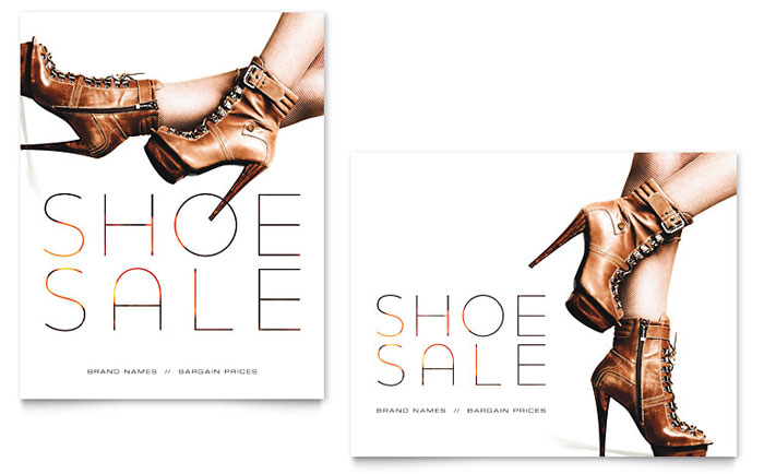 designer shoes sale poster template - word & publisher, Shoe Boutique Powerpoint Presentation Free Template, Presentation templates