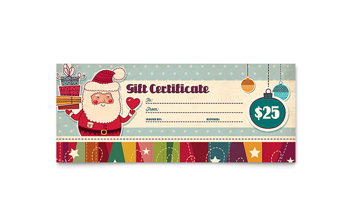 Retro Santa Gift Certificate Template Word Publisher