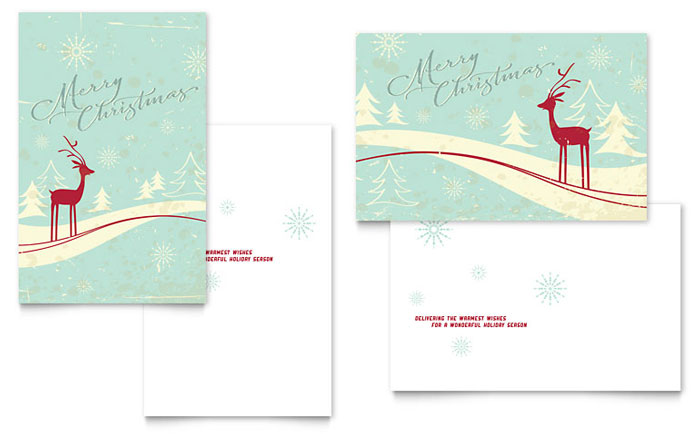Christmas Card Templates Word Antique Deer Greeting Card Template  Word & Publisher