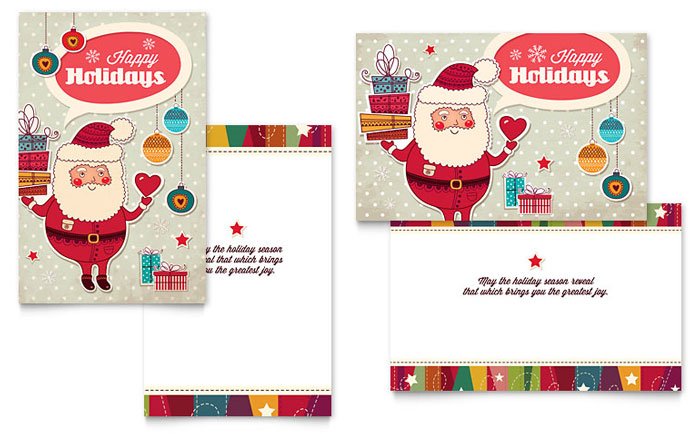 Christmas Card Templates Word Prepossessing Retro Santa Greeting Card Template  Word & Publisher