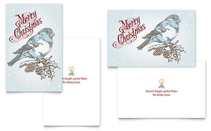 Vintage Bird Greeting Card Template  Word  Publisher