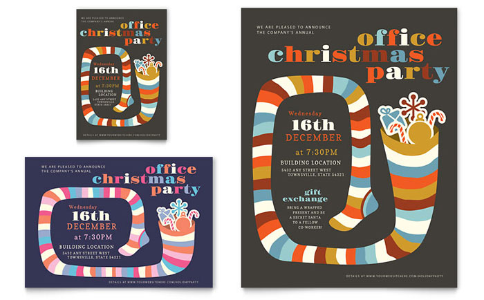 christmas party flyer & ad template - word & publisher, Wedding invitations