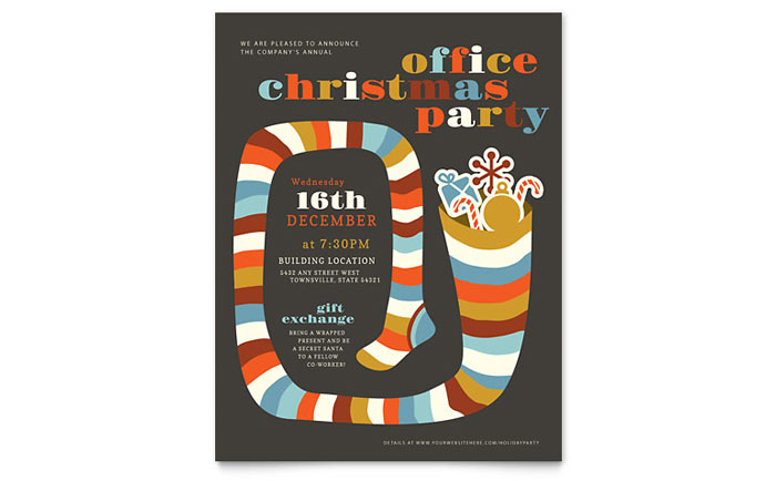 Christmas Party Flyer Template  Word  Publisher