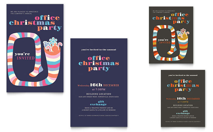Christmas Party Note Card Template - Word & Publisher