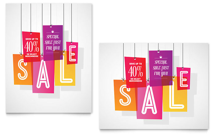 Clearance Tag Sale Poster Template - Word & Publisher