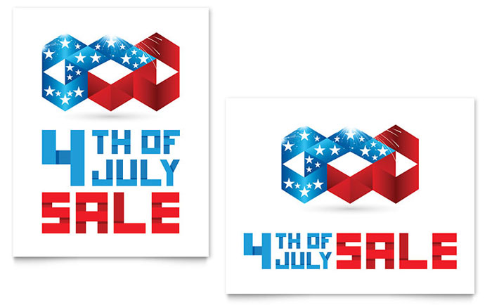 July 4th Patriotic Sale Poster Template Download - Word & Publisher - Microsoft Office