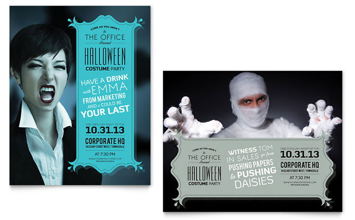 halloween costume party poster template word publisher