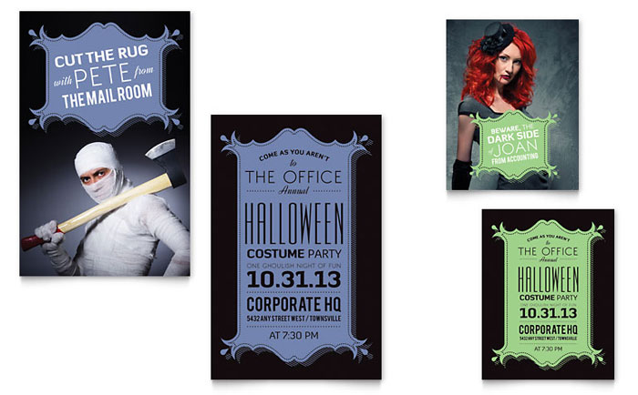 halloween costume party note card template word publisher