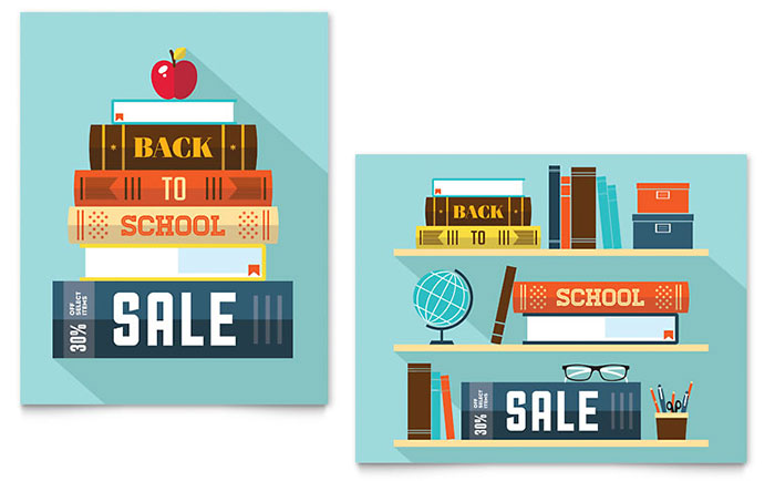 Back to School Books Sale Poster Template - Word & Publisher