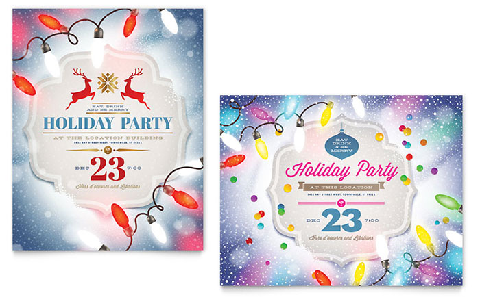 Holiday Party Poster Template - Word & Publisher