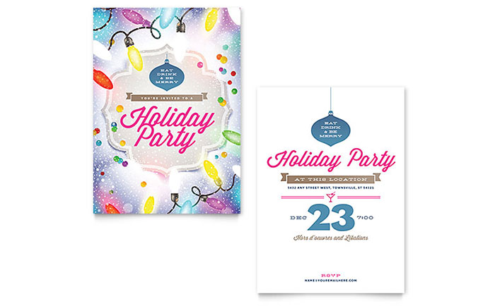 Holiday Party Invitation Template Word Publisher