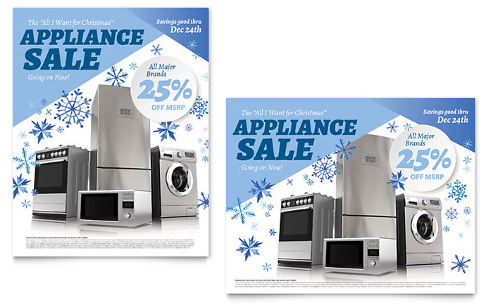 kitchen appliance sale poster template