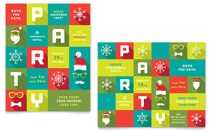 Work Christmas Party Poster Template - Word & Publisher