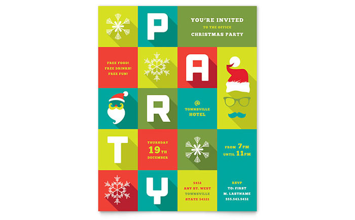 Work Christmas Party Flyer Template - Word & Publisher
