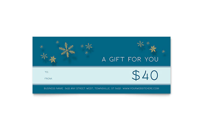 Golden Snowflakes Gift Certificate Template - Word & Publisher